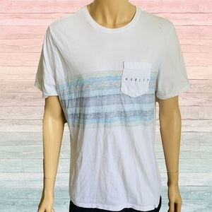 Hurley Blue Stripes Logo Graphic Tee